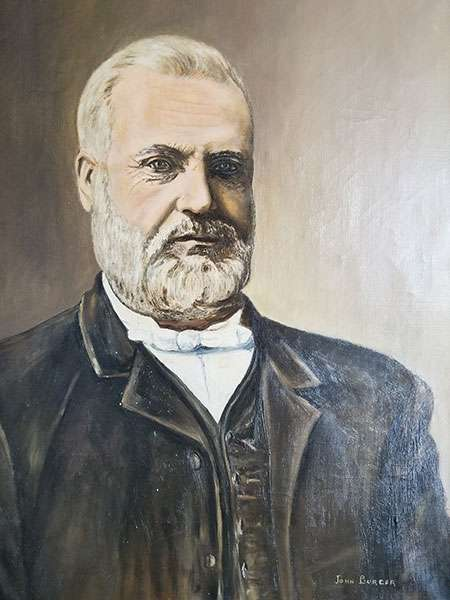 Painted portrait of Huntington University's namesake, Silas Huntington, (1829—1905), who was an itinerant Methodist minister who established more than 100 churches throughout Northeastern Ontario. He explored this region by canoe and train, and was active in community development throughout the north. Portrait signed by John Burger.