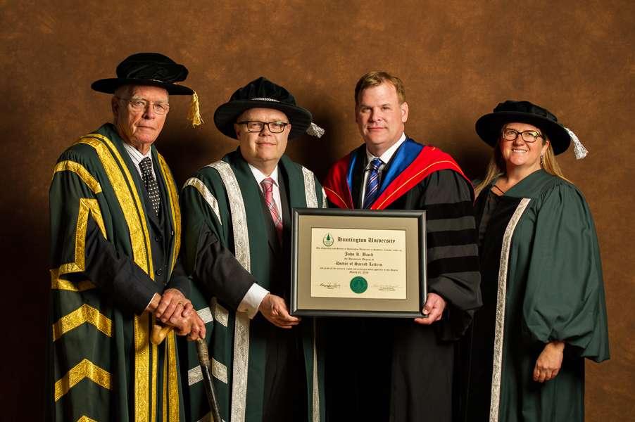 News Release - Huntington University Presents Honorary Degree To The Honourable John R. Baird, P.C.